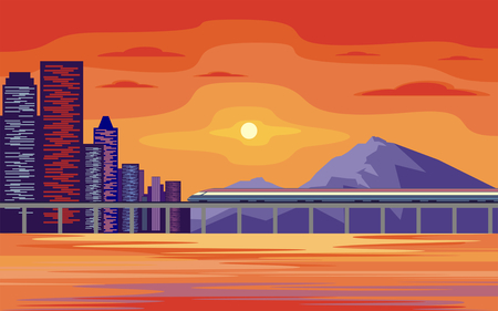 high speed rail: Abstract image of a modern coastal city. Cityscape with tall buildings, skyscrapers and high speed rail. Vector background for design presentations, brochures, web sites and banners. Illustration