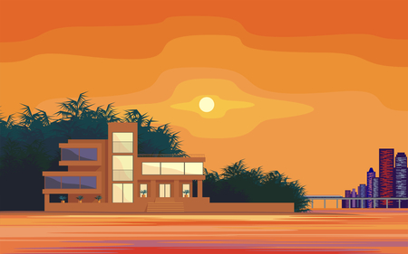 beachfront: Abstract image of a large, beautiful country house on a background of a modern metropolis. Luxury Villa on the seafront, surrounded by palm trees. Vector background. Illustration