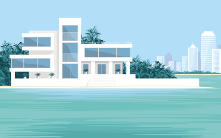 metropolis image: Abstract image of a large, beautiful country house on a background of a modern metropolis. Luxury Villa on the seafront, surrounded by palm trees. Vector background. Illustration