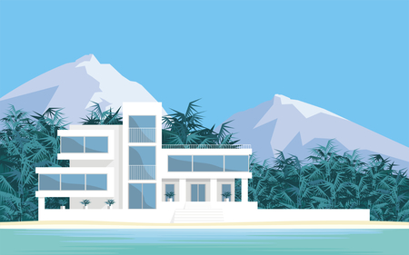Abstract image of a large, beautiful country house. Luxury Villa on the seafront, surrounded by palm trees. Vector background. Ilustração