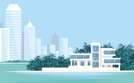 Abstract image of a large, beautiful country house on a background of a modern metropolis. Luxury Villa on the seafront, surrounded by palm trees. Vector background. Illustration