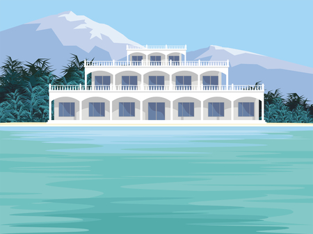 seafronts: Abstract image of a large, beautiful country house. Luxury Villa on the seafront, surrounded by palm trees. Vector background. Illustration