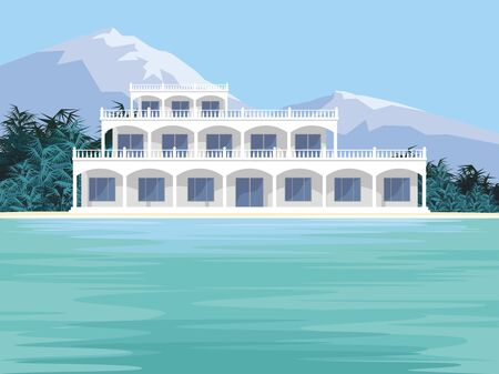 Abstract image d'une grande, belle maison de campagne. Villa de luxe en bord de mer, entouré de palmiers. Vecteur de fond.