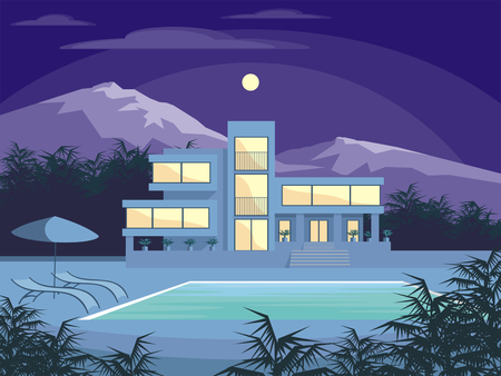 Abstract image of a large, beautiful country house. Luxury Villa in the mountains surrounded by tropical plants. Vector background. Ilustração