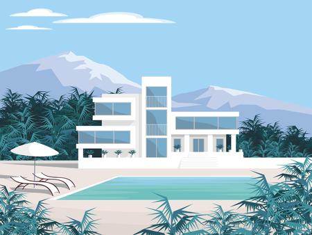 Abstract image d'une grande, belle maison de campagne. Villa de luxe dans les montagnes entourées de plantes tropicales. Vecteur de fond.