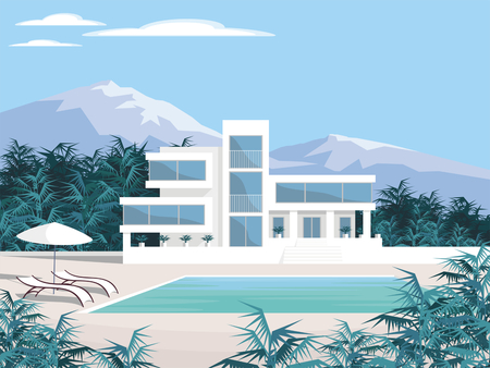 Abstract image of a large, beautiful country house. Luxury Villa in the mountains surrounded by tropical plants. Vector background. Illustration