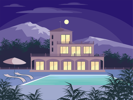 country house: Abstract image of a large, beautiful country house. Luxury Villa in the mountains surrounded by tropical plants. Vector background. Illustration