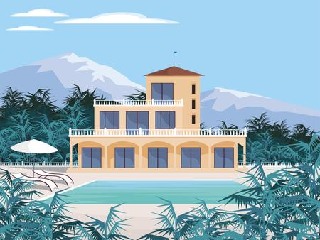 Abstract image d'une grande, belle maison de campagne. Villa de luxe dans les montagnes entourées de plantes tropicales. Vecteur de fond. Vecteurs