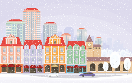 townscape: The image of a winter city. Snow-covered streets with small old houses and high-rise buildings in the background. Vector illustration