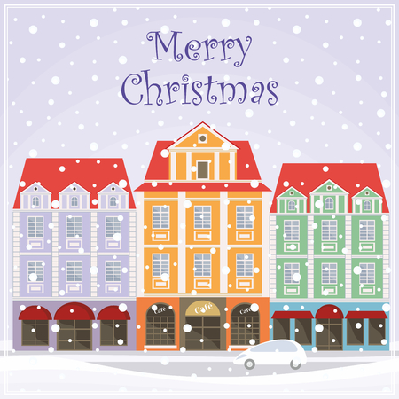 townscape: Christmas greeting card with a picture of snow-covered streets of the old town.