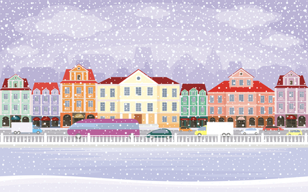 townscape: The image of a winter city. Snow-covered streets with small old houses. Vector illustration