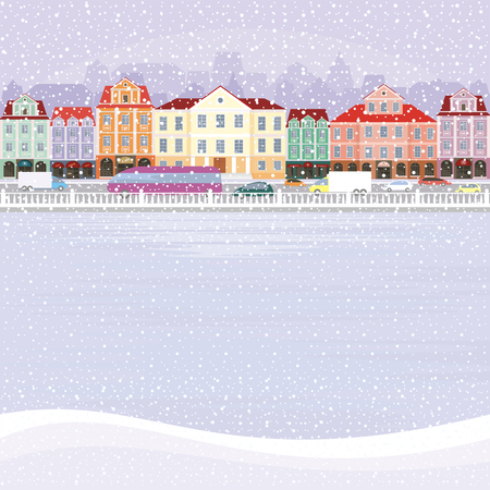 old city: The image of a winter city. Snow-covered streets with small old houses. Vector illustration