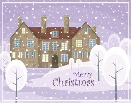 smokestack: Christmas greeting card. Image of a old English house on a background of a winter landscape. Vector illustration. Illustration