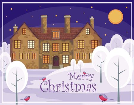 english house: Christmas greeting card. Image of a old English house on a background of a winter landscape. Vector illustration. Illustration