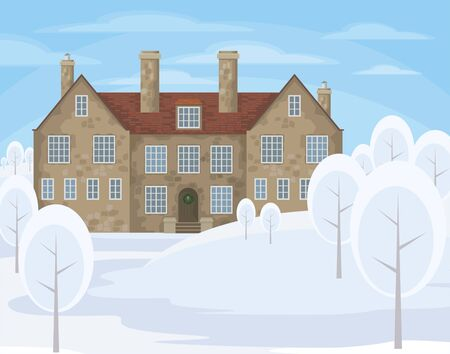 smokestack: Image of a old English house on a background of a winter landscape. Vector illustration. Illustration