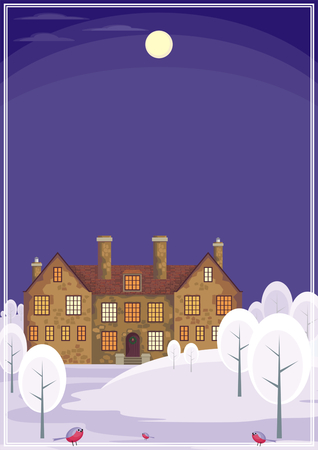 english house: Image of a old English house on a background of a winter landscape. Vector illustration. Illustration