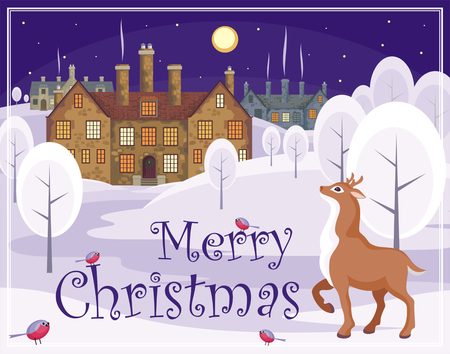 english village: Christmas greeting card with the image of wild animals and small English villages with old stone houses. Winter landscape. Vector illustration.
