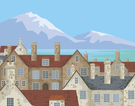 hamlet: Image of small English villages with old stone houses. Townscape. Vector illustration.