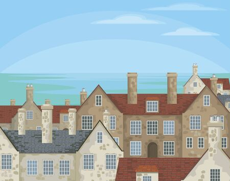 Image of small English villages with old stone houses. Townscape. Vector illustration.