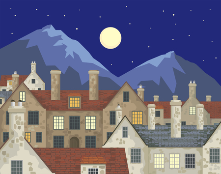 english countryside: Image of small English villages with old stone houses. Townscape. Vector illustration.
