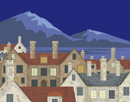coastal: Image of small English villages with old stone houses. Townscape. Vector illustration.