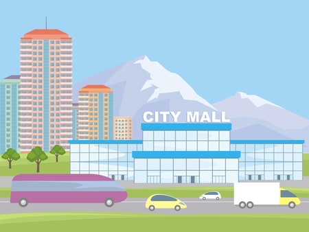 Abstract image of a modern city. Cityscape with tall buildings, skyscrapers and shopping center. Vector background for design presentations, web sites and banners.