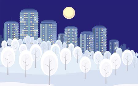 大都市の画像郊外。背景に高層ビルと冬の風景です。ベクトルの図。  イラスト・ベクター素材