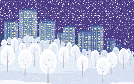 The picture outskirts of a big city. Winter landscape with high-rise buildings in the background. Vector illustration.