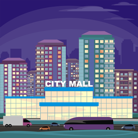 residential district: Abstract image of a modern city. Night cityscape with tall buildings, skyscrapers and shopping center. Vector background for design presentations, web sites and banners.