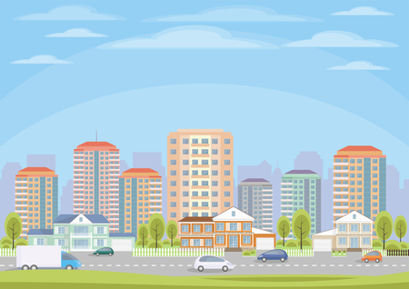 The cottage settlement on the suburb of the big city. Vector background