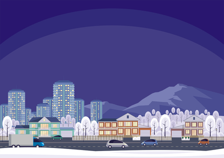 megacity: The cottage settlement on the suburb of the big city. Vector background