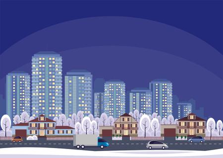 大都会の郊外のコテージ決済。ベクトルの背景