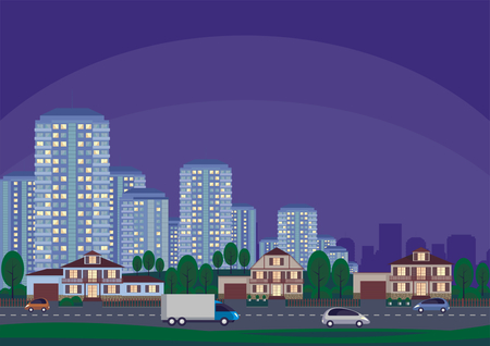 townscape: The cottage settlement on the suburb of the big city. Vector background