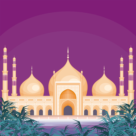 townscape: Vector background with the abstract image of the big beautiful mosque. City landscape. Illustration