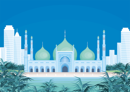 Vector background with the abstract image of the big beautiful mosque. City landscape. Illustration