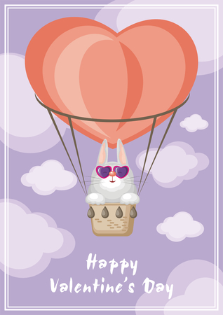 Greeting card happy Valentines day. Funny animal flying in a hot air balloon. Illustration