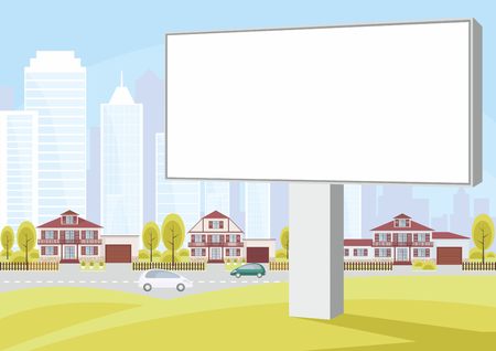 suburbs: Billboard on the side of the highway. The cottage settlement on the suburb of the big city. Vector background