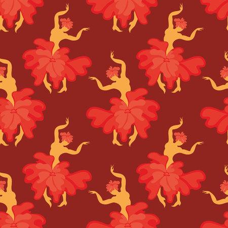 bailando flamenco: Seamless pattern with the image of the silhouette of a beautiful woman dancing flamenco.
