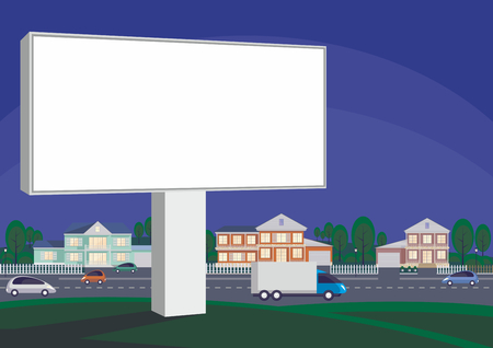 Billboard on the background of a country cottage settlement. Vector illustration