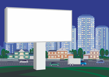 Billboard on the side of the highway. The cottage settlement on the suburb of the big city. Vector background