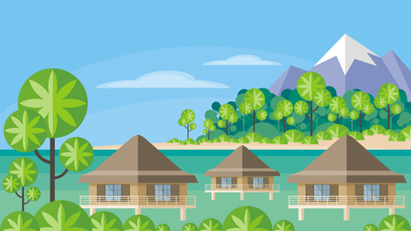 Bungalows on the ocean surrounded by tropical plants. South sea landscape. Vector background. Flat design. Illustration
