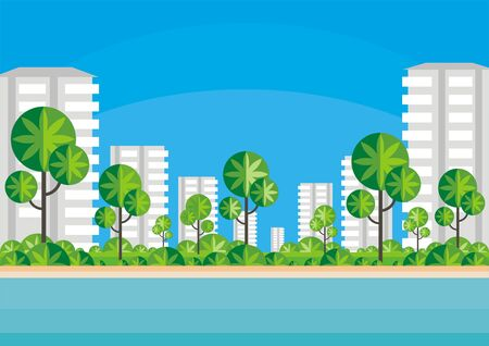 tall grass: Abstract image of the southern seaside city. A city landscape with high-rise buildings, tropical plants and a view of the sea. Vector background.