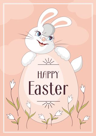 Happy Easter greeting card. The image of Easter eggs and white rabbits on a pink background. Vector illustration. Illustration