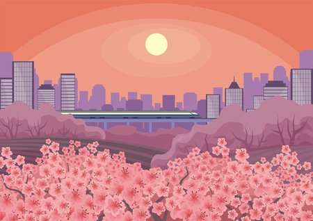 Beautiful spring landscape with the blossoming Oriental cherry. Agricultural grounds in the neighborhood of the big city. Vector background. Illustration