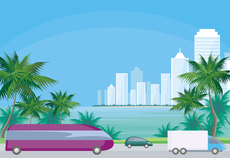 townscape: Abstract image of the southern seaside city. A city landscape with high-rise buildings, tropical plants and a view of the sea. Vector background.