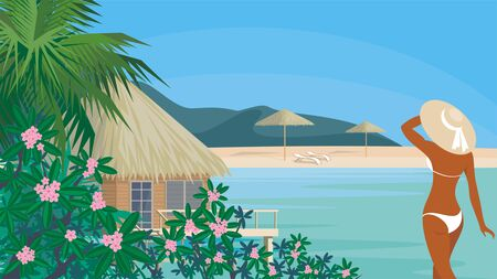 vegetation: Vector background with the image of the beautiful suntanned girl in an environment of tropical vegetation. Summer sea landscape.