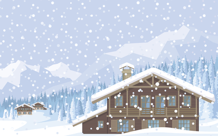 ski lodge: The image of a chalet in snowy mountains. Beautiful winter landscape. Vector background. Illustration