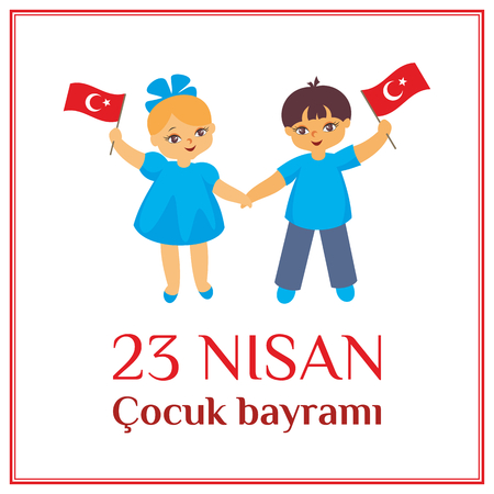 A vector illustration by a public holiday of Turkey. Translation from Turkish: April 23, Childrens Day.