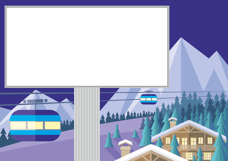 ski lodge: The image is a wooded mountain slope, the Chalet and the cable car. Beautiful winter landscape. Vector background.