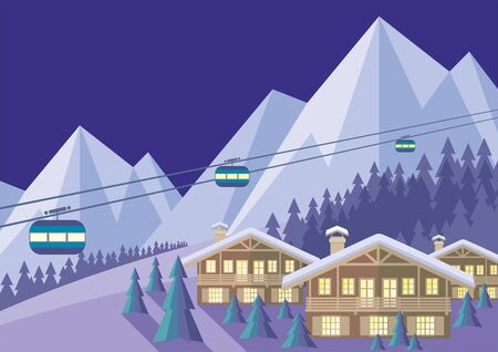 chalet: The image is a wooded mountain slope, the Chalet and the cable car. Beautiful winter landscape. Vector background.